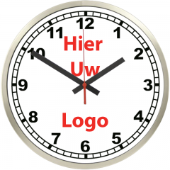 Logo op klok 30cm RVS rand cijfers