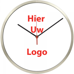 Logo op klok 30cm RVS rand smalle wijzers
