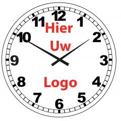 Logo op klok 40cm glas cijfers