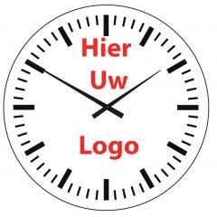 Logo op klok 40cm glas strepen